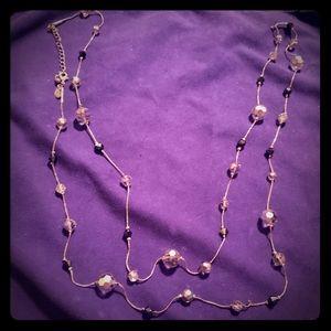 EUC Long LIA SOPHIA Silver&Blue charm/gem Necklace